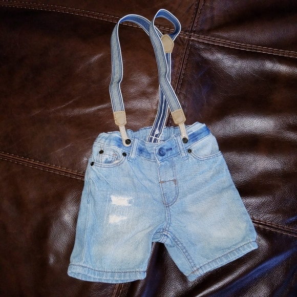 1e2448426 H&M Bottoms | Baby Boy Distressed Suspenders Jean Shorts | Poshmark
